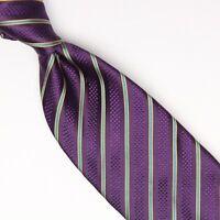 Josiah France Mens Silk Necktie Purple Blue Gold Stripe Weave Woven Tie Italy