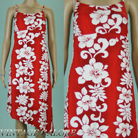 VTG 80s 90s Grunge Red white open back Floral Hawaiian Light sun dress Sz S
