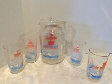Vintage Sail Boat Drinking Glass And Pitcher Set Of 4 Glasses w/ Glasses.