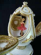"Russian Empress Ballerina musical Egg plays: ""Swan Lake"" & Pendant Necklace"