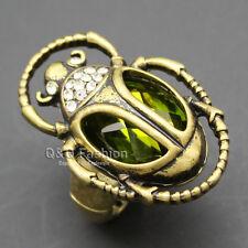 Cleopatra Retro Gold Egyptian khepri Scarab Beetle Emerald Gemstone Finger Ring
