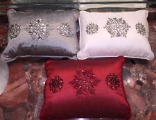 "Nwt Kim Seybert Neiman Marcus Snowflake Beaded Holiday Jeweled Pillows 12""x16"""