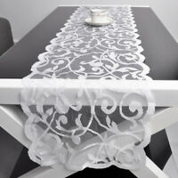 White Vintage Lace Floral Solid Table Runner Flower Wedding Party Decoration