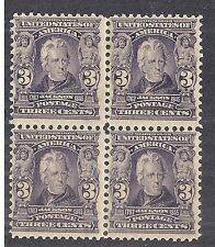 1903 US 302 Andrew Jackson Block of 4 - 3c Bright Violet - MH OG*
