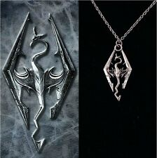 The Elder Scrolls Logo Pendant Charm Skyrim Dragon Necklace Chain