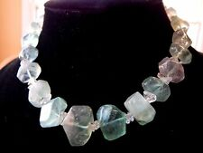 Vintage Natural GREEN Stone Phrenite Beach Glass Style Rock Cabachon Necklace