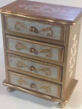 Vintage Gilded 4-Drawer Musical Jewelry Chest Box- Plays Stranger in the Night