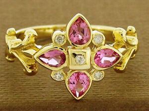 R079 Genuine 9K, 10K, 18K Gold Natural Pink Tourmaine & Diamond Flower Ring