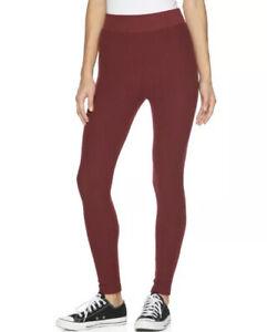 NEW Junior's High-Waist Ribbed Sweater Leggings, Red Size Medium