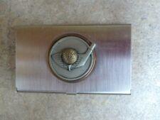 Golf Logo Pocket Metal Business Card Holder Case Id Credit Wallet Silver