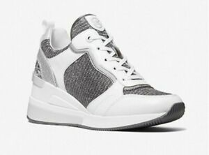 Michael Kors Crista Suede Metallic Canvas Sneaker Shoes  Silver