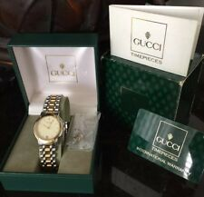 Vintage GUCCI 8000.2M Yellow Gold-Plated Stainless MENS LADIES Watch + Links