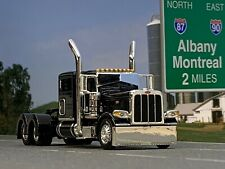 "1/64 DCP BLACK PETERBILT 389 W/ 63"" FLAT TOP SLEEPER"