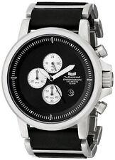 VESTAL Men's Black & Silver PLEXI LEATHER Watch PLE036 New In Original Box