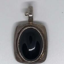 Sterling Silver .925 Onyx Pendant with Snap-Lock Clasp