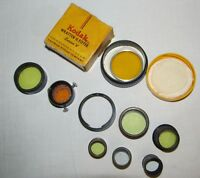Vtg Camera Filter Lot KODAK Wratten G/B&H Nat Glass/TAYLOR HOBSON Screen + J0415
