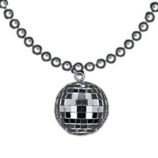 Disco Ball Charm Necklace On Silver Beads