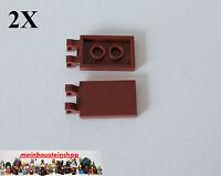 2X Lego 30350 Platte Fliese Fahne Tile 2X3 mit 2 Clips Rotbraun Red. Brown  NEU