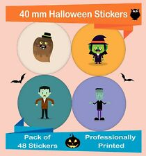 48-Pack 40 mm Halloween Spooky Stickers Trick or Treat Party Bag Fillers Hal09
