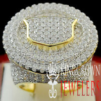 Real Silver Mens Big Bold 14k Yellow Gold Finish XL Lab Diamond Pinky Ring Band