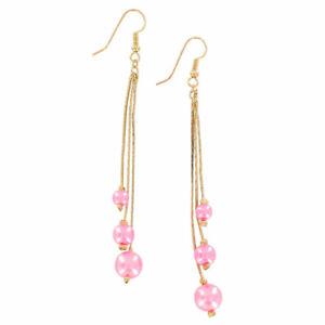 """Pink Faux Pearl Beaded Gold Tone Chain Dangle Chandelier Pierced Earrings 3 7/8"""""""