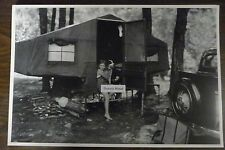 "12 By 18"" Black & White Picture 1934 FORD WITH CAMPING TENT TRAILER"