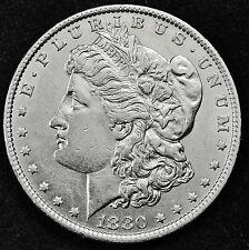 1880-o Morgan Silver Dollar.  Chest Feather's.  A.U.  879749 (INV. E.)