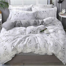 Cat White Printing Bedding Set Duvet Quilt Cover+Sheet+Pillow Case Four-Piece