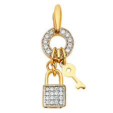 Real 14K Yellow Gold CZ Key Lock Ring Round Lucky Cubic Zirconia Pendant Charm