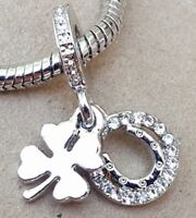 Lucky Crystal Horseshoe Four Leaf Clover Good Luck Symbols European Bead Charm