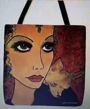 RARE 1920s Woman Chihuahua Treasure whimsical artist tote bag purse 16 x 16 New