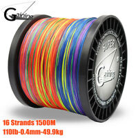 16Strands 1500M Braided Fishing Line 110LB Multicolor Super Strong PE Braid Line