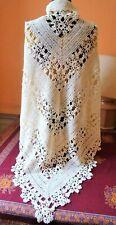 Pèlerine vintage en dentelle de coton crocheté faite à la main -