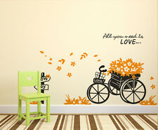 5700044 | Wall Stickers Floral Bicycle Quote All You Need is Love in Garden