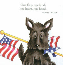 One Flag One Land One Heart-Handcrafted Scotty Dog Magnet-w/Mary Engelbreit art
