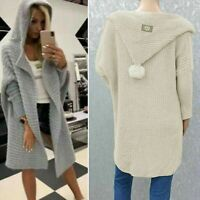 New Ladies Knitted Hooded Pom Pom Long Cardigan Jacket