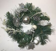 3 Vintage Plastic Wreath Candle Rings- Silver Holly, Artificial Pine, Ornaments