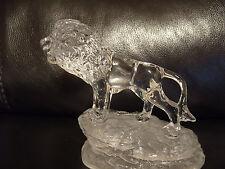 León Rara Vintage Cristal D 'arques Vidrio Ornamento Estatuilla De Cristal: