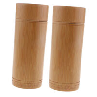 2pcs Tea Canister Bamboo Japanese Tea Pot Box Kitchen Storage Jars M