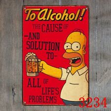 Metal Tin Sign The Simpsons to alcohol Decor Bar Pub Home Vintage Retro Poster
