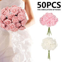 50PCS Artificial Rose Bouquet Silk Fake Flowers Leaf Wedding Party Home Decor