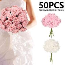 50x Artificial Silk Bouquet Flowers Blossom Rose Peony Home Wedding Party Decor-