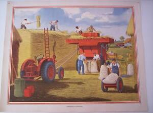 Vintage  Colour Lithograph Poster 1950s Print Threshing in England 105