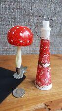 Lot 2! Victorian Milk Glass Ornaments, Christmas Horn & Mushroom, Red & White