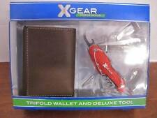 XGEAR 41XG2500 MOBILE SERIES TRIFOLD BROWN LEATHER WALLET & DELUXE TOOL GIFT SET