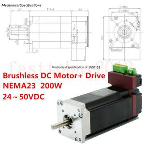 200W Integrated Brushless DC Servo Motor Drive NEMA23 BLDC 24~50VDC  Low Voltage