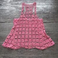 Womens Floral Lace Crochet Vest Top Sleeveless Blouse Size S Color Pink