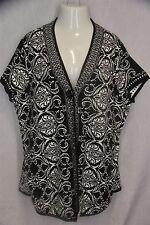 Style & Co 3X Black White Swirl Cap Sleeve One Button Boxy Cardigan Sweater