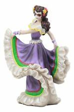 DOD Day of the Dead Mexican Halloween Lady Dancer Purple Skirt Dress Figurine