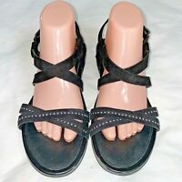 FitFlop Lumy Criss Cross Strappy Black Suede Studded Sandals Women's Size 8 US